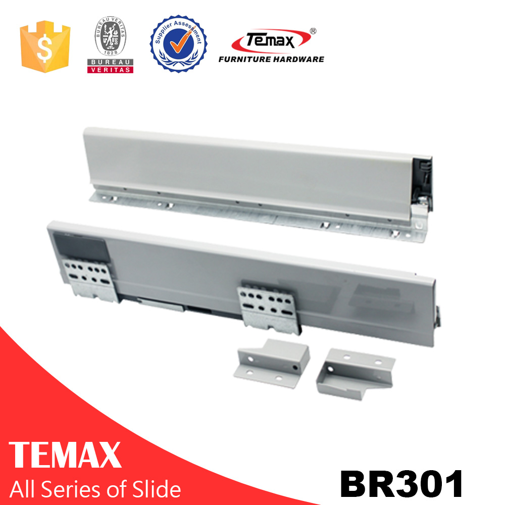 BR301 push open soft close metal box drawer