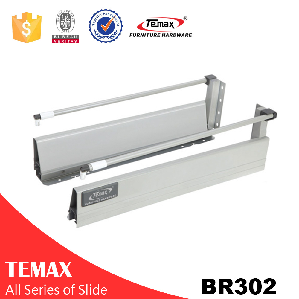 BR302 push open soft close  undermount concealed drawer slide