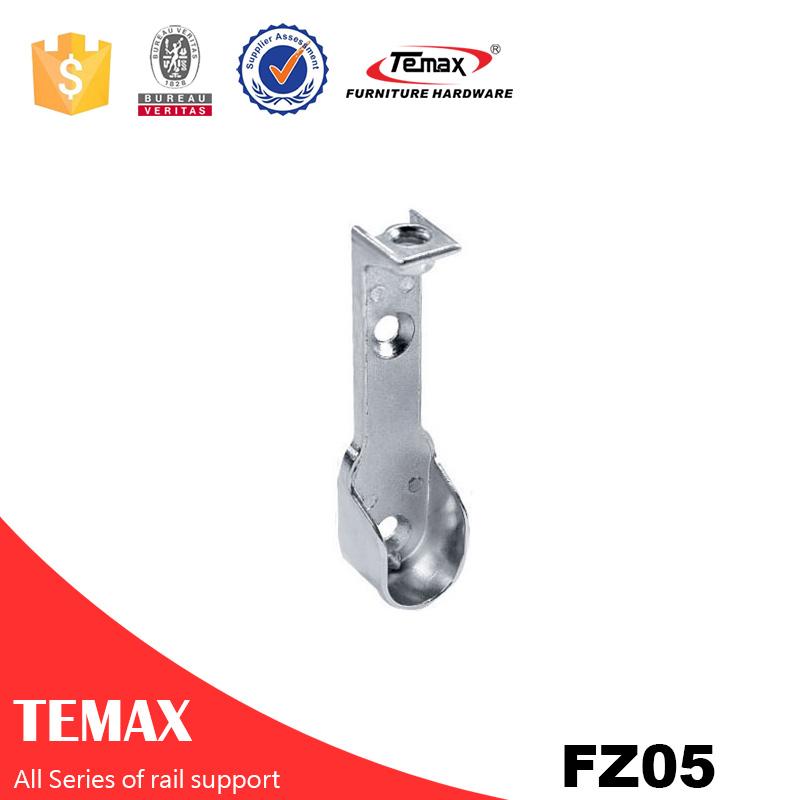 FZ05 Zinc alloy nickel furniture Wardrobe  rail support tube holder