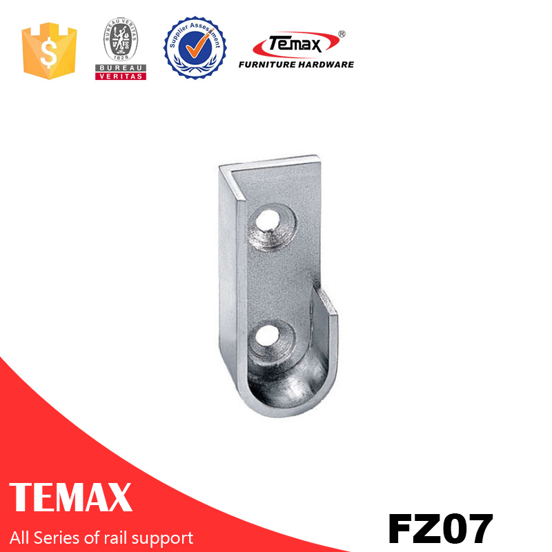 FZ07 Zinc alloy nickel furniture garderobe rail support tube holder