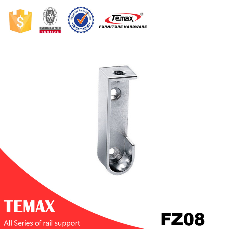 FZ08 Temax hot  Zinc alloy nickel furniture wardrobe rail support tube holder