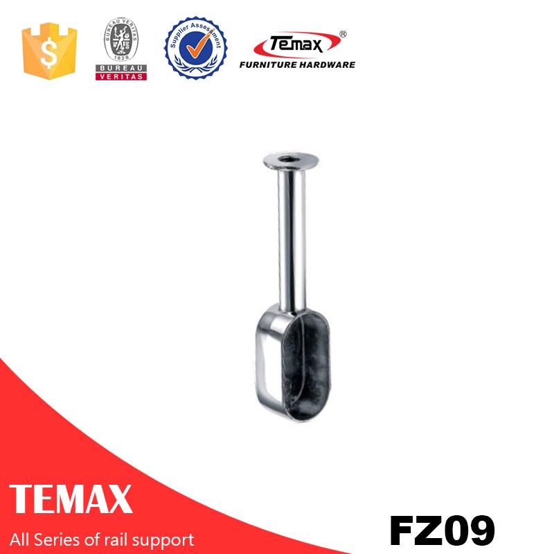 FZ09 Temax hot  D72*20MM Zinc alloy chrome furniture wardrobe rail support holder