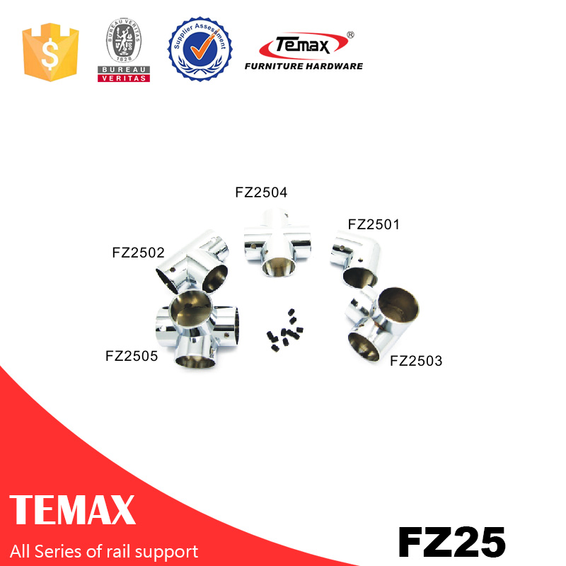 FZ25 Temax  Bed room fittings Zinc alloy chrome furniture wardrobe support rail