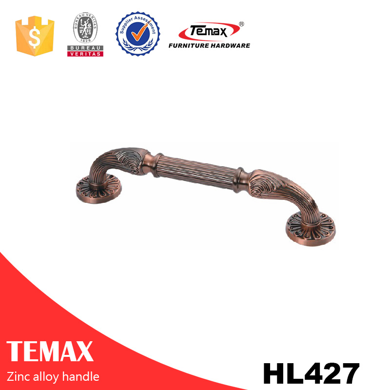 HL427 popular cabinet leather zinc handles