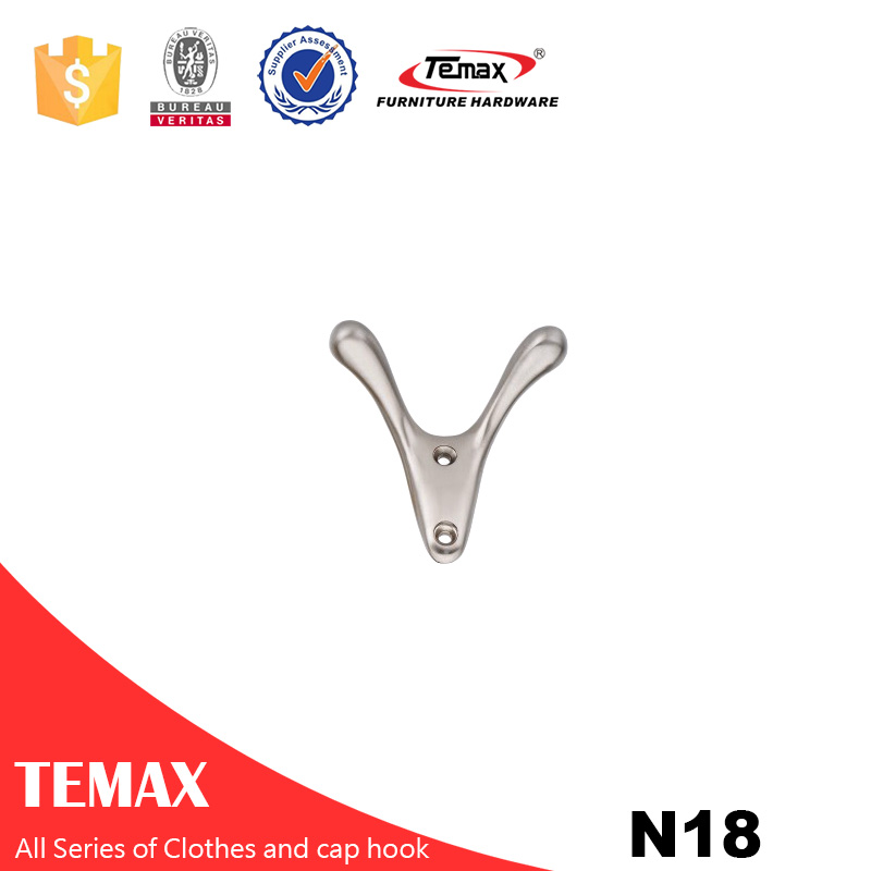 N18 Temax V shape nickel Zinc alloy clothes cap hook