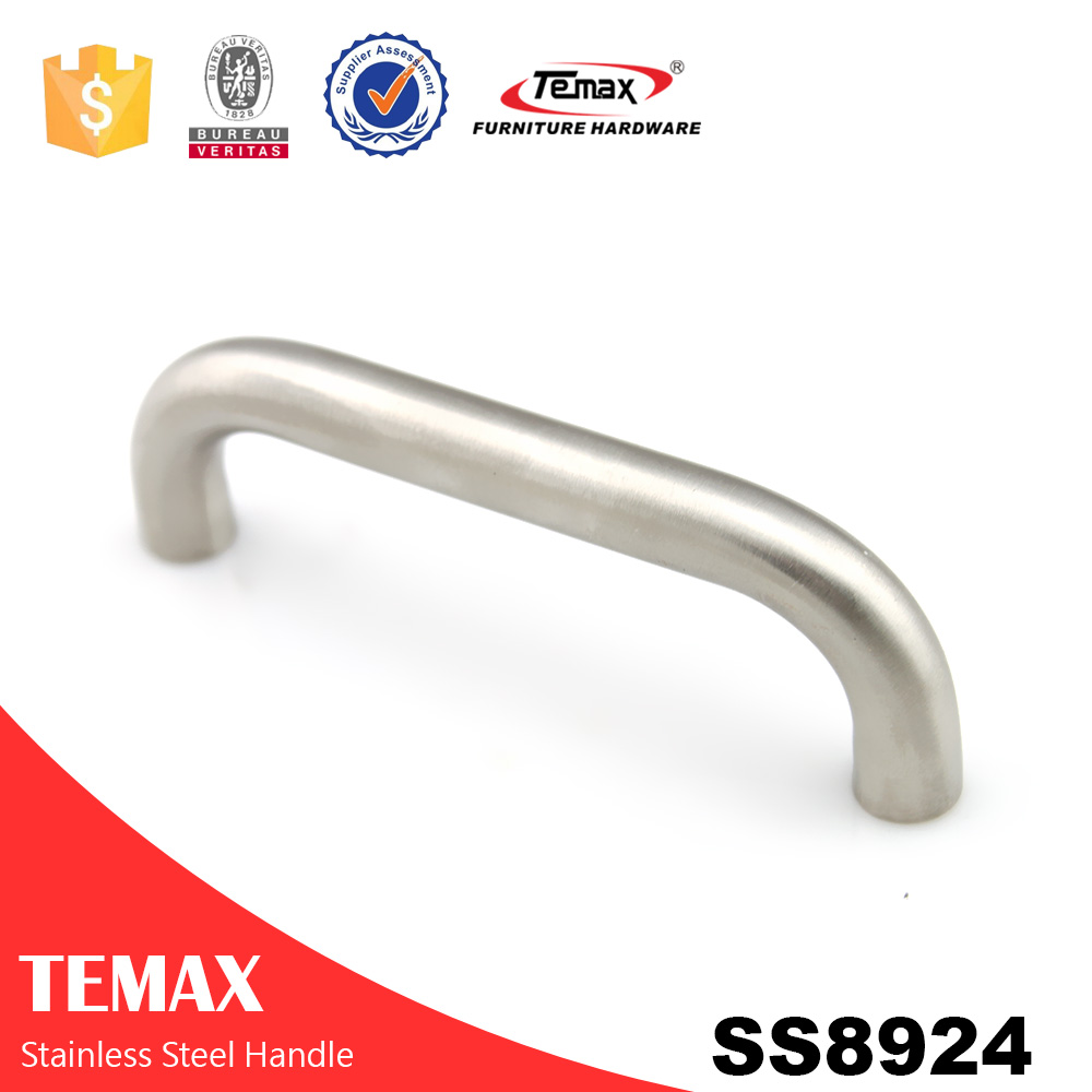 SS8924 Comfortable hollow stainless steel door handle on backplate