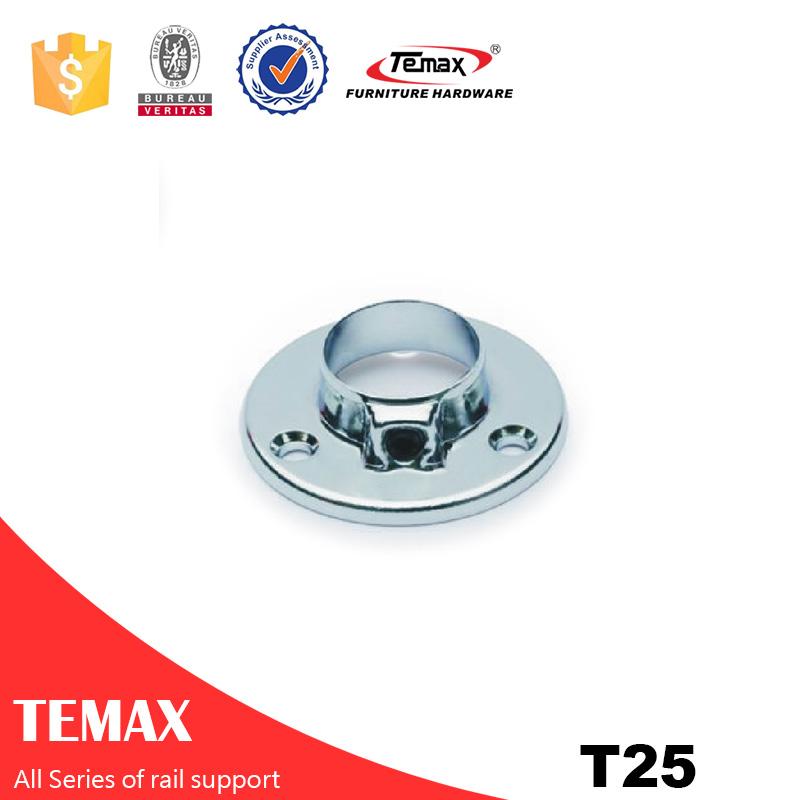 टी25 व्यास 25mm स्टील क्रोम टिकाऊ फर्नीचर रेल समर्थन धारक बेडरूम फिटिंग के लिए