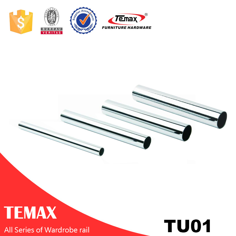 TU01 Round shape different size  steel  chrome Wardrobe Rail for bedroom fittings