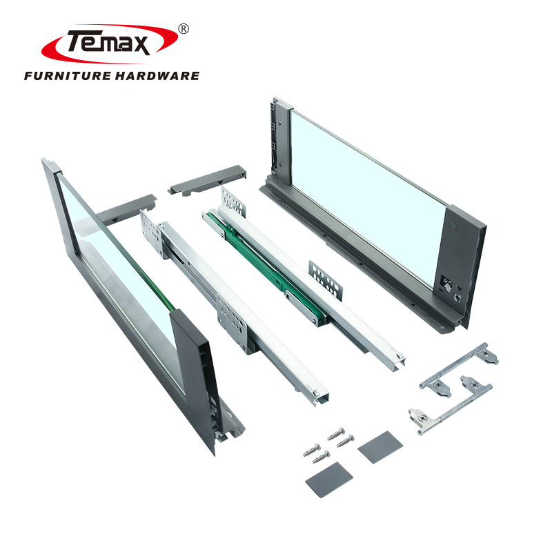 Temax Cabinet Drawer Slide with High Glass Side Panel Soft Close Slim Box Runner BT3031G