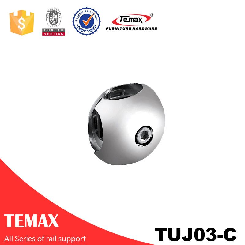 TUJ03-C ديا 25mm شكل الكرة أنبوب خزانة الملابس قابل للتعديل القضبان شنقا