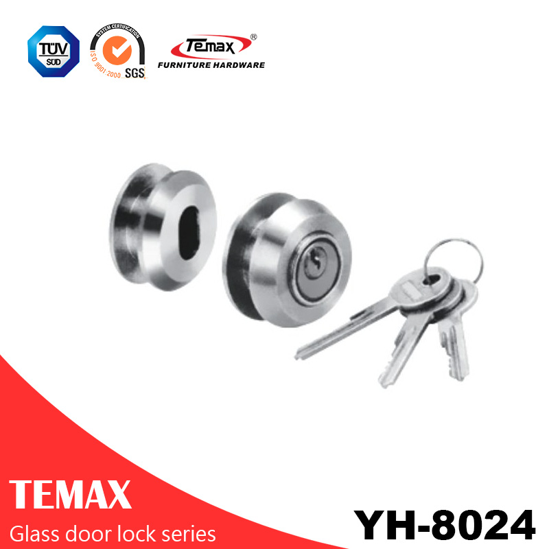 YH-8024 popular circular galvanized glass door lock