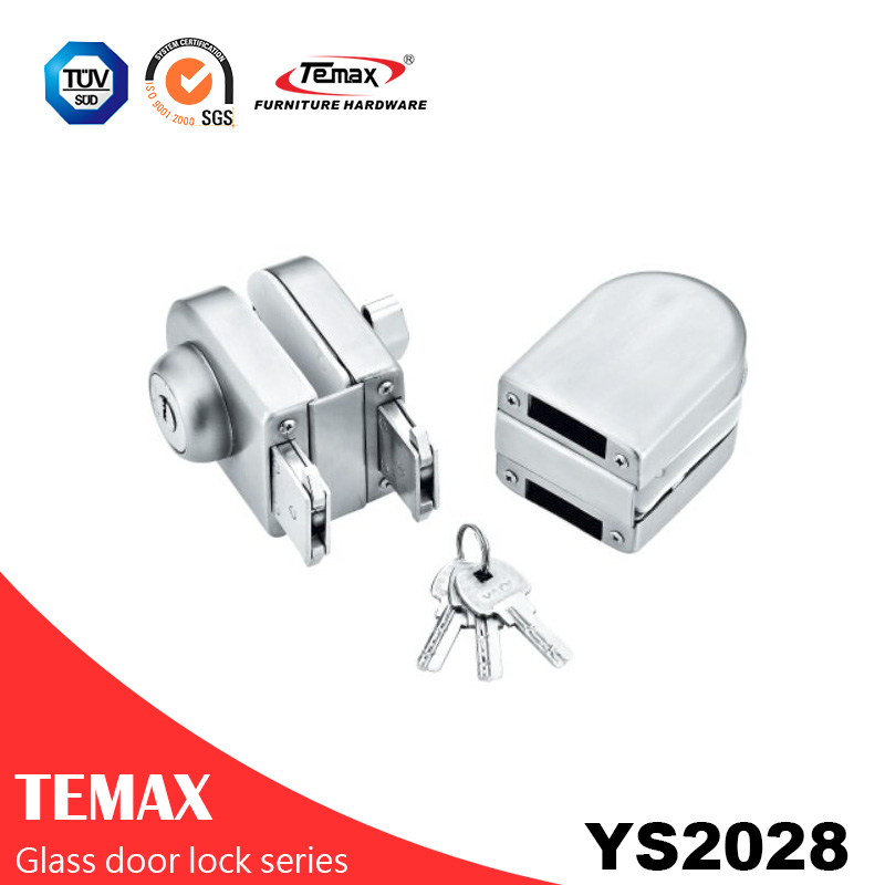 YS2028  stainless steel double locks glass door lock
