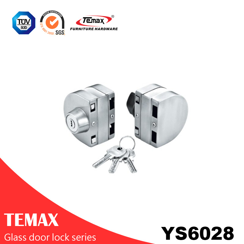 YS6028  stainless steel double locks glass door lock