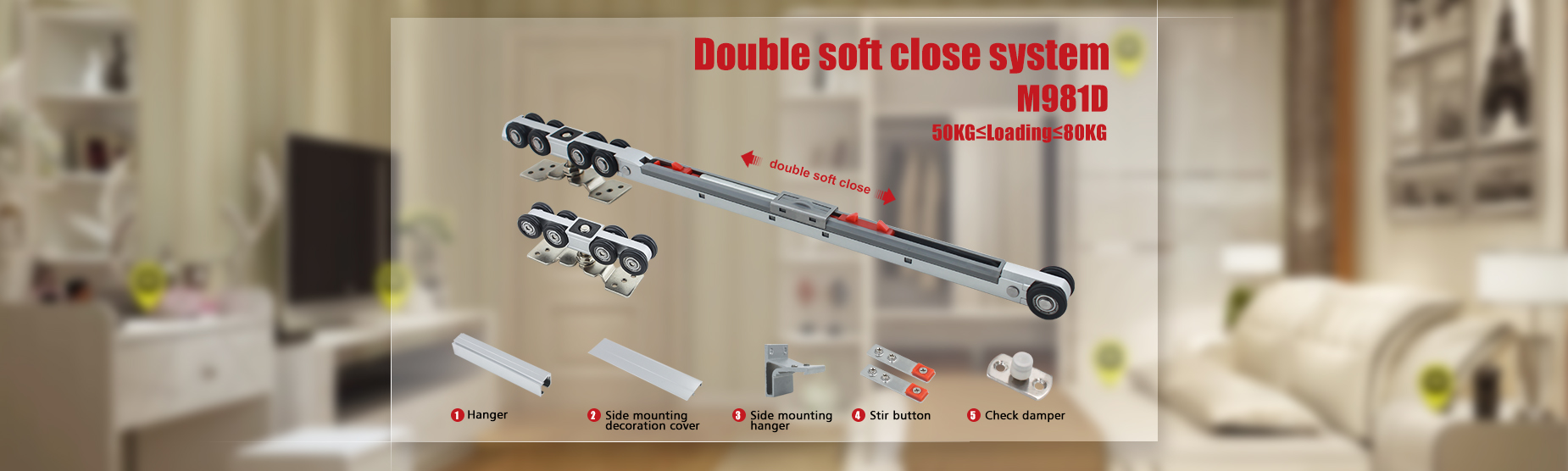 M981D Double Sides Soft Close Sliding Door Roller