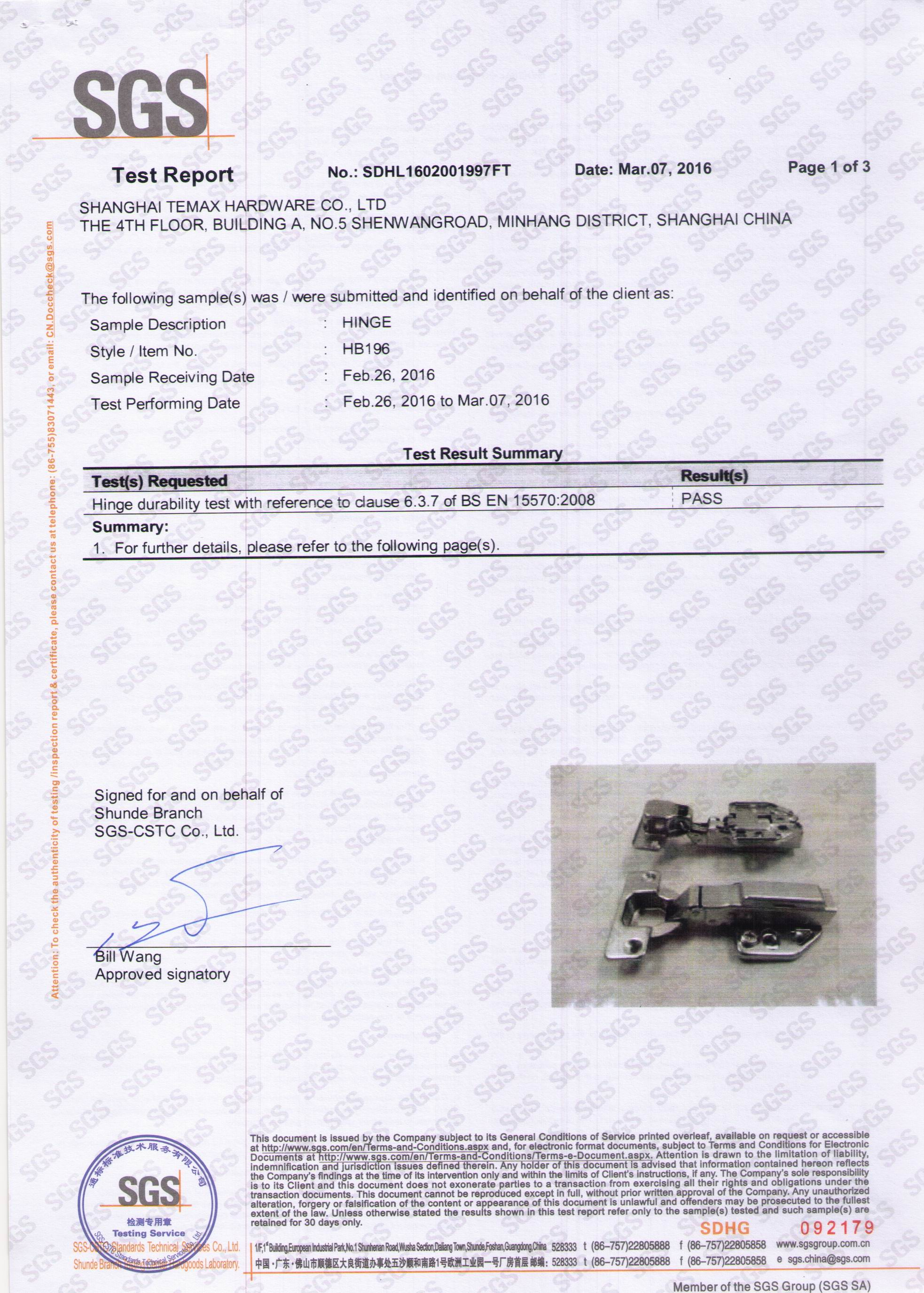 SGS Test Report of HB196