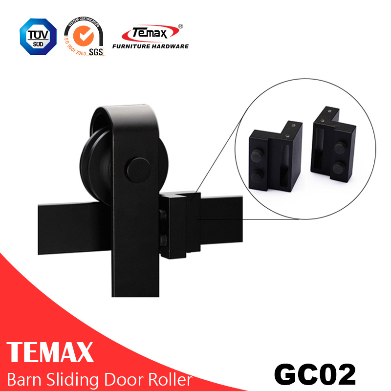 GC02 Black Interior Hanging Barn Door Sliding Roller