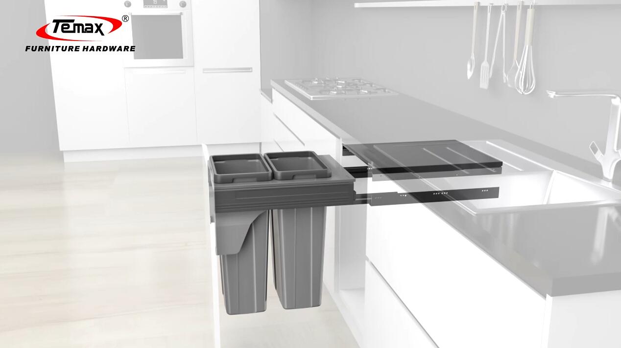 Soft Close Trash Bin für Küchendesign, um muti Marke Tandembox wie Blum DTC TEMAX Folien passen