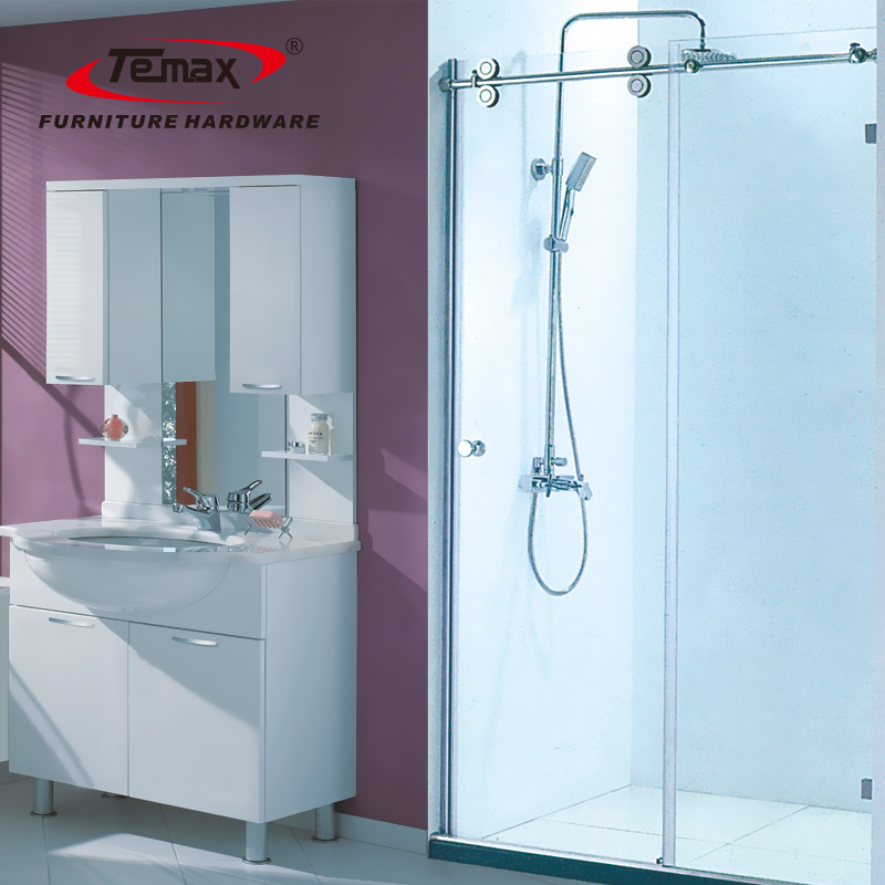 الحمام الفولاذ المقاوم للصدأ انزلاق الباب الزجاجي للحمام
