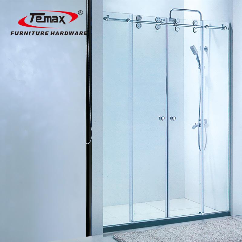 دائم الحمام الصلب زجاج باب جرار بكرة