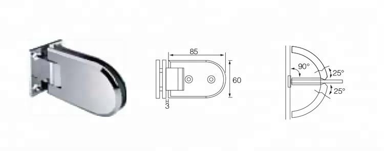 90 درجة قوس نصف دائري 10MM زجاج الباب المفصلي
