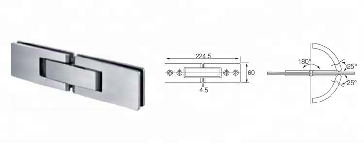 الفولاذ المقاوم للصدأ 180 درجات زجاج الباب المفصلي