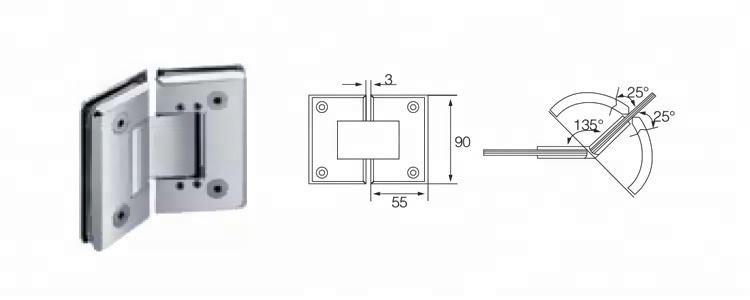 135 Grad zwei Seiten Adjustable Selbstschließglastürscharnier