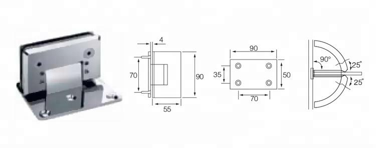 90 Degrees einer Seite Verstellbare Badezimmer-Glas Hinge