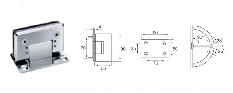90 درجات الزجاج دش قابل للتعديل إلى الجدار المفصلي