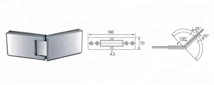 TEMAX دش الباب المشبك للزجاج بدون إطار تركيبات أجهزة