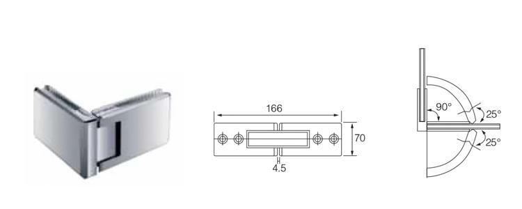 TEMAX Duschtürglas klemmt Hardware-Glashalter Glastür