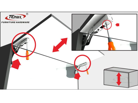 How Use To TEMAX FS100 Lid Stay cabinet support system?