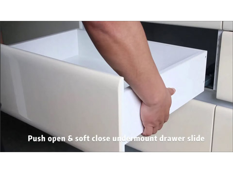 Push open and soft close integrated style undermount concealed drawer slide on fashion
