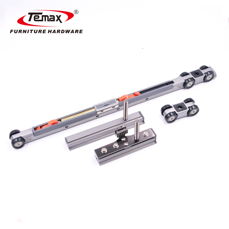 2+2 Double Soft Close 4 Doors Opposite Sync Opening Telescopic Sliding Door Roller System M978 Temax 2020