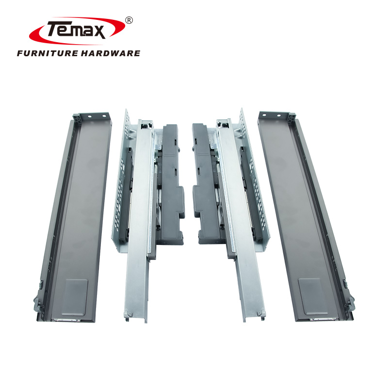 Temax Push to Open Concealed Cabinet Drawer Slide Soft Closing Slim Metal Box BD301 with 3D adjustment